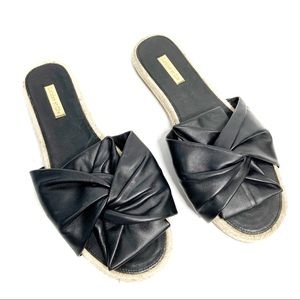 Louise et Cie Camille black leather knotted slides